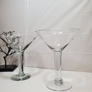 Lot of 2 Large Martini Glasses 10in Height